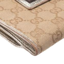 Gucci Beige/Metallic Gold GG Canvas Abbey D Ring Compact Wallet