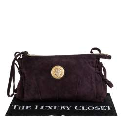 Gucci Burgundy Suede Medium Hysteria Clutch