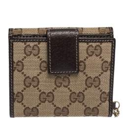 Gucci Brown/Beige GG Canvas and Leather Flap Compact Wallet with Charm