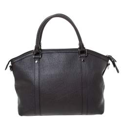 Gucci Dark Brown Leather GG Charm Dome Satchel