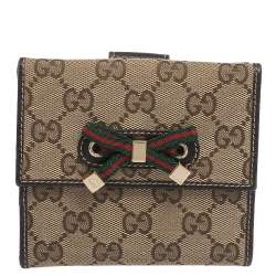 Gucci Beige/Brown GG Canvas Mayfair Bow Flap Compact Wallet