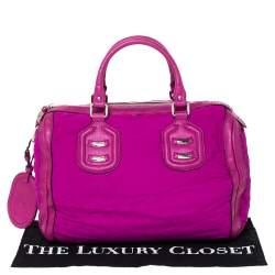 Gucci Magenta GG Neoprene and Leather Medium Techno Tag Boston Bag