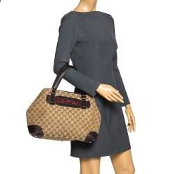 Gucci Beige/Brown GG Canvas and Leather Medium Supreme Web Dressage Tote