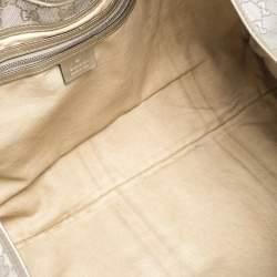 Gucci Metallic Grey GG Imprime Canvas and Leather Large Joy Shoulder Bag