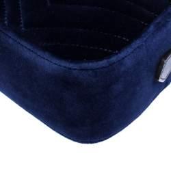 Gucci Blue GG Matelasse Velvet and Leather GG Marmont Shoulder Bag