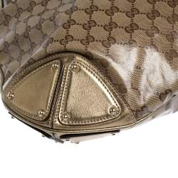 Gucci Metallic/Beige GG Crystal Canvas and Leather Large Indy Hobo