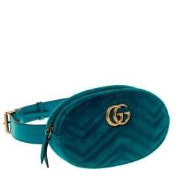 Gucci Teal Velvet GG Marmont Belt Bag