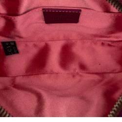 Gucci Pink GG Marmont Velvet Leather Belt Bag