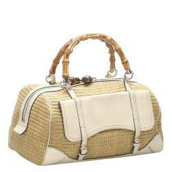 Gucci Brown Bamboo Straw Satchel Bag