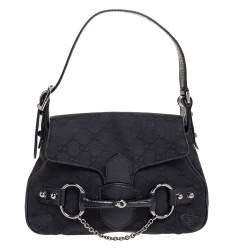 Gucci Black GG Canvas and Leather Horsebit Chain Shoulder Bag