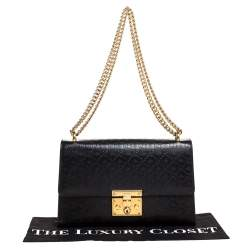 Gucci Black Guccissima Bee Embossed Leather Medium Padlock Shoulder Bag