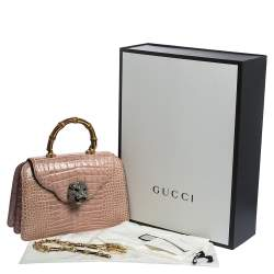 Gucci Pink Shine Crocodile Medium Thiara Bamboo Top Handle Bag