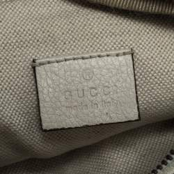 Gucci Cream Leather Logo Belt Bag