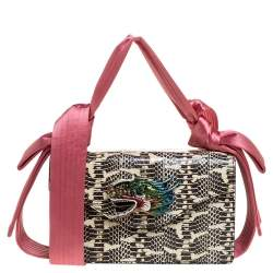 Gucci Pink/Beige Python and Satin Naga Dragon Head Shoulder Bag
