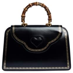 Gucci Black Leather Medium Thiara Bamboo Top Handle Bag