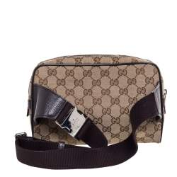 Gucci Beige/Brown GG Canvas and Leather Belt Bag