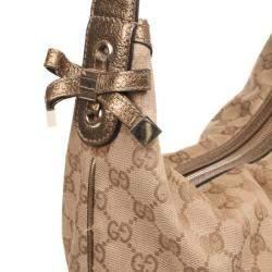 Gucci Beige Metallic Monogram Heart Bit Hobo