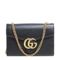 Gucci Black Leather GG Marmont Wallet on Chain