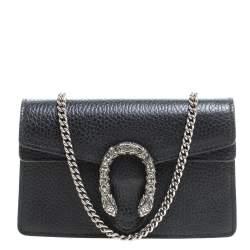 Gucci Black Leather Micro Dionysus Shoulder Bag