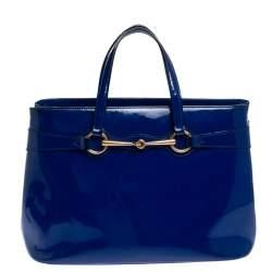 Gucci Blue Patent Leather Medium Bright Bit Tote