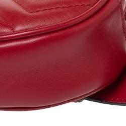 Gucci Red Matelassé Leather GG Marmont Belt Bag