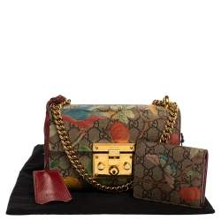 Gucci Multicolor Tian GG Supreme Canvas and  Leather Small Padlock Shoulder Bag