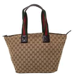 Gucci Beige/Brown GG Canvas and Leather Large Web Tote