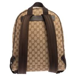 Gucci  Beige/Brown GG Canvas and Leather Rucksack Backpack
