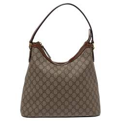 Gucci Beige/Brown GG Supreme Canvas and Leather Linea A Hobo