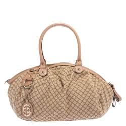 Gucci Beige Diamante Canvas and Leather Medium Sukey Boston Bag