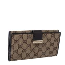 Gucci Brown/Beige GG Canvas and Leather Continental Wallet