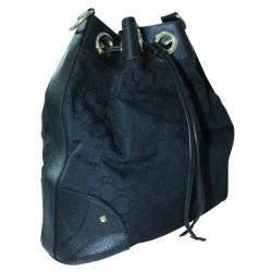 Gucci Black Canvas Leather Drawstring Shoulder Bag