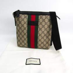 Gucci Beige/Brown GG Supreme Canvas Flat Messenger Bag