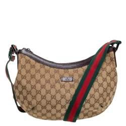 Gucci GG Canvas Medium Web Messenger Bag