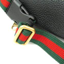 Gucci Black Leather Print Small Belt Bag