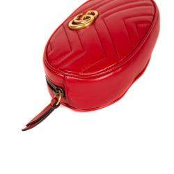 Gucci Red Leather GG Marmont Belt Bag