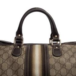 Gucci Dark Brown/Beige GG Canvas and Leather Medium Joy Web Boston Bag