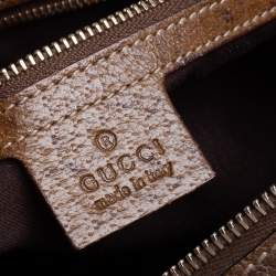 Gucci Gold/Brown GG Canvas and Leather Heart Lock Satchel