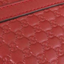 Gucci Red Leather Microguccissima Bag