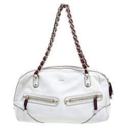 Gucci White Leather Capri Chain Satchel