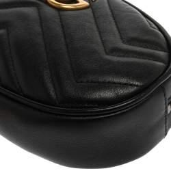 حقيبة حزام غوتشي جي جي مارمونت جلد مبطنة سوداء