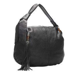 Gucci Black Leather Bamboo Jungle Hobo Bag