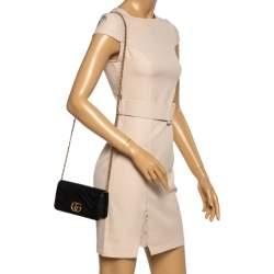 Gucci Black Leather Mini Marmont Chain Bag