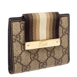 Gucci Beige GG Supreme Canvas and Leather Web French Wallet