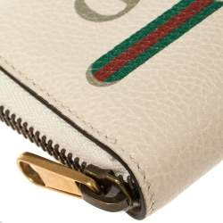 Gucci Off White Printed Leather Zip Around Wallet