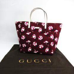 Gucci Red/White Canvas Parasol Print Tote  Bag