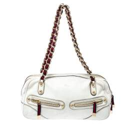 Gucci Off White Leather Capri Bowler Bag