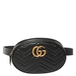 حقيبة غوتشي حزام مارمونت جي جي جلد مبطنة سوداء