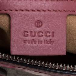 Gucci Pink/Beige GG Blooms Supreme Canvas Boston Bag