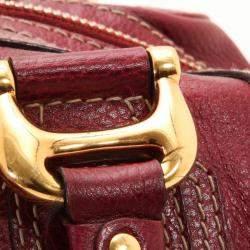 Gucci Maroon Leather Aviatrix Medium Boston Satchel